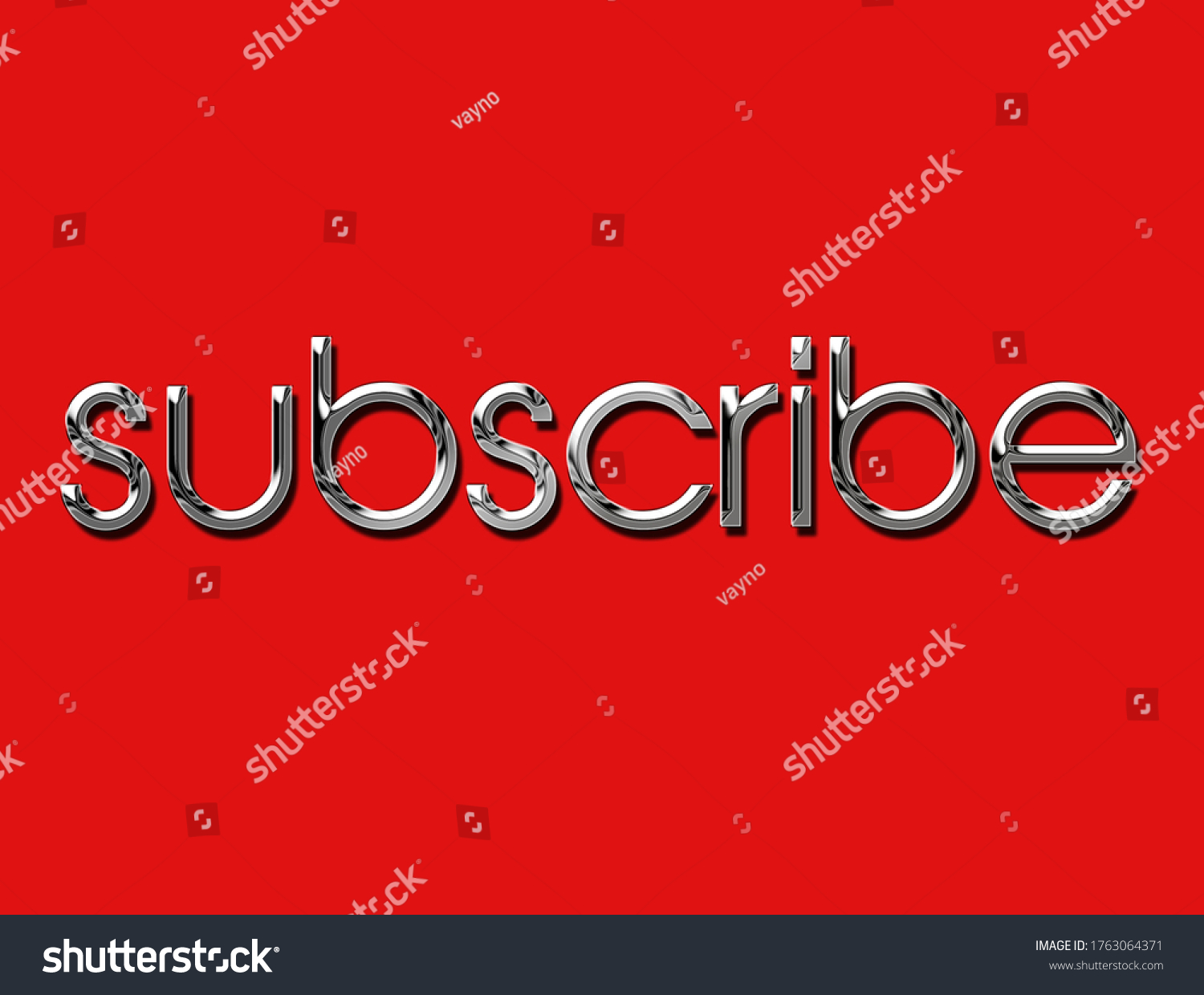 metallic chrome subscribe text isolated .  3d illustration