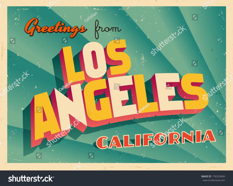 Vintage Touristic Greeting Card Los Angeles California Vector - Los angeles posters vintage