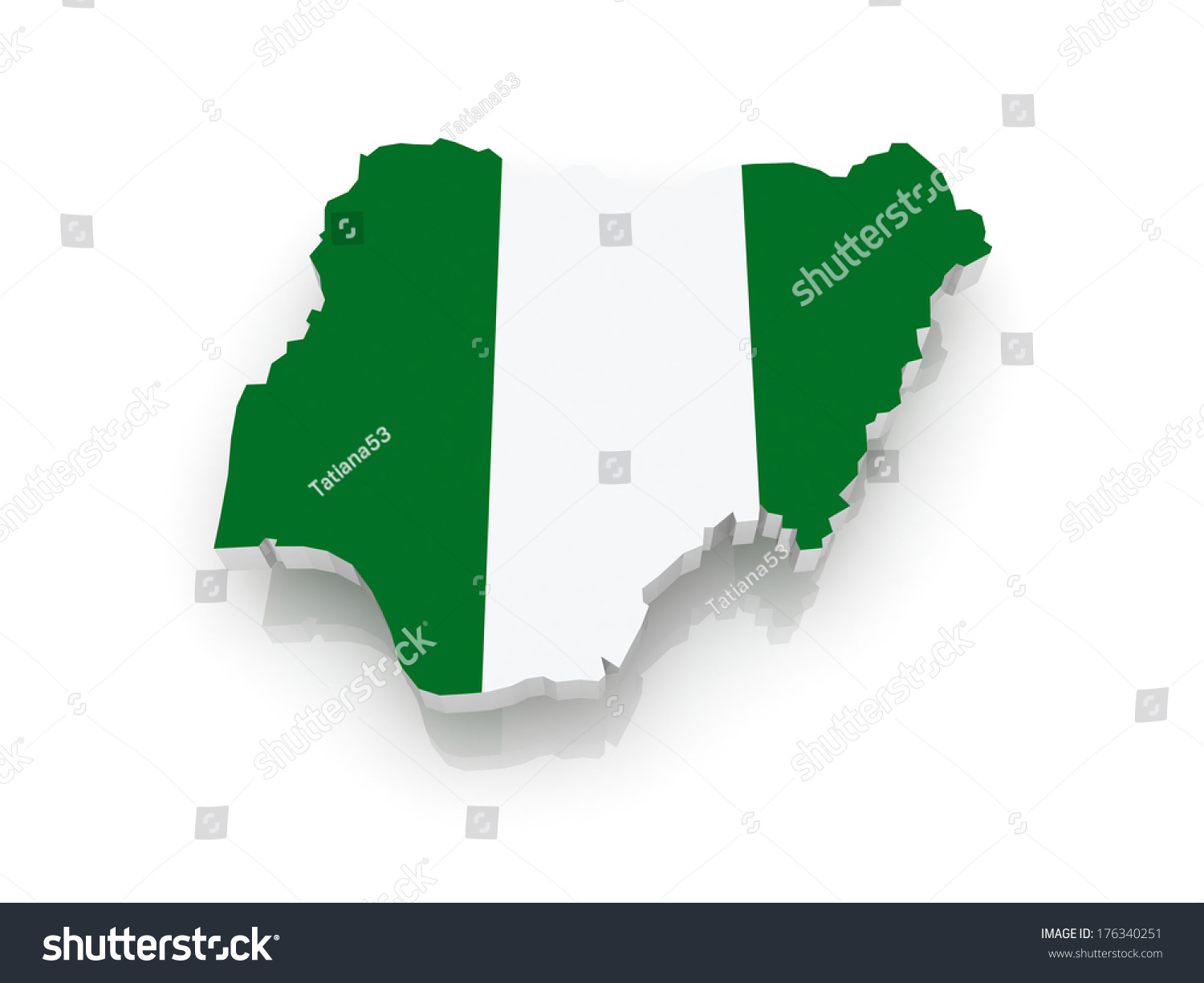 Map nigeria 3 d stock illustration 176340251 shutterstock map of nigeria 3d ccuart Choice Image