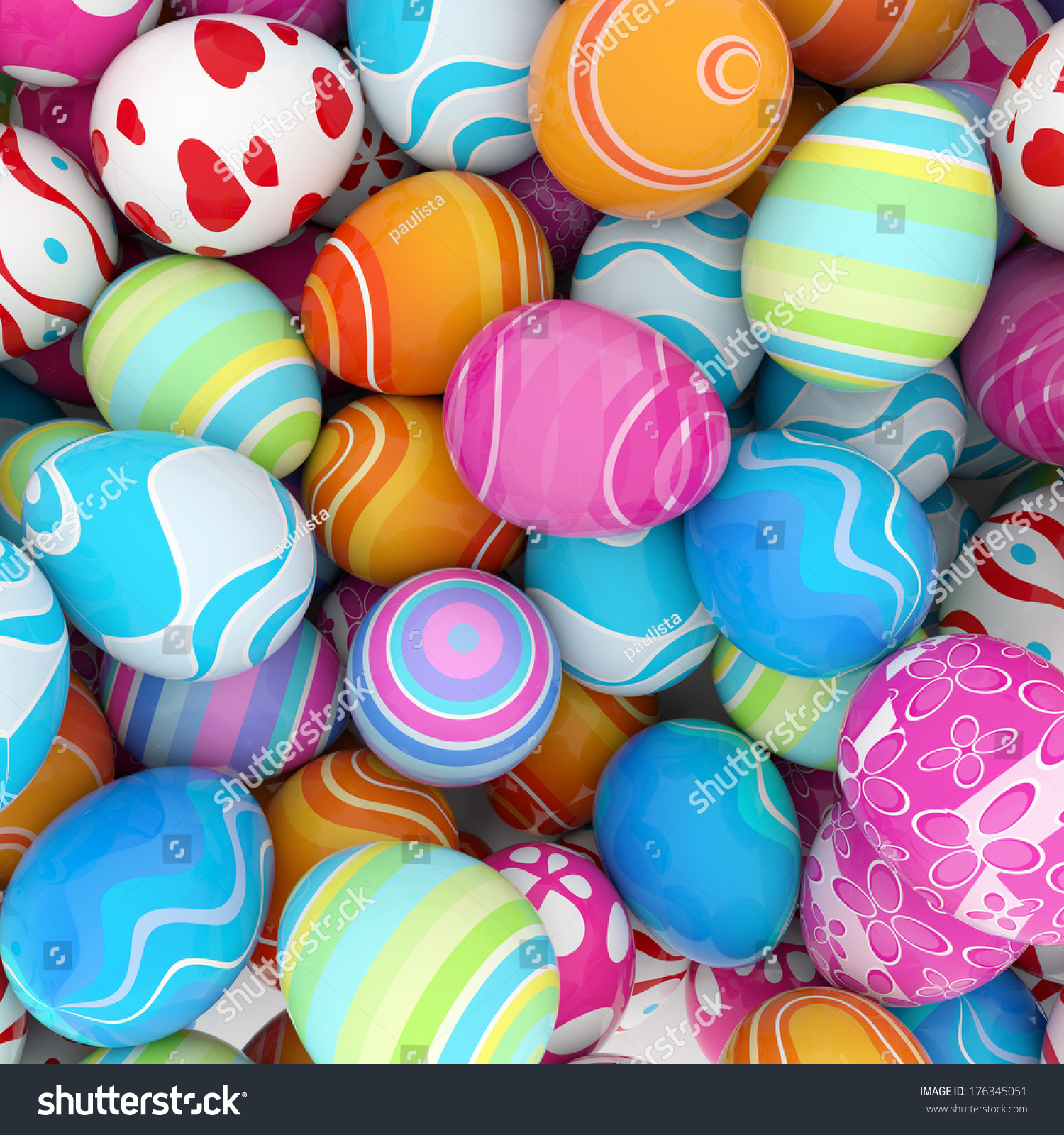 Background Pile Colorful Easter Eggs Stock Illustration
