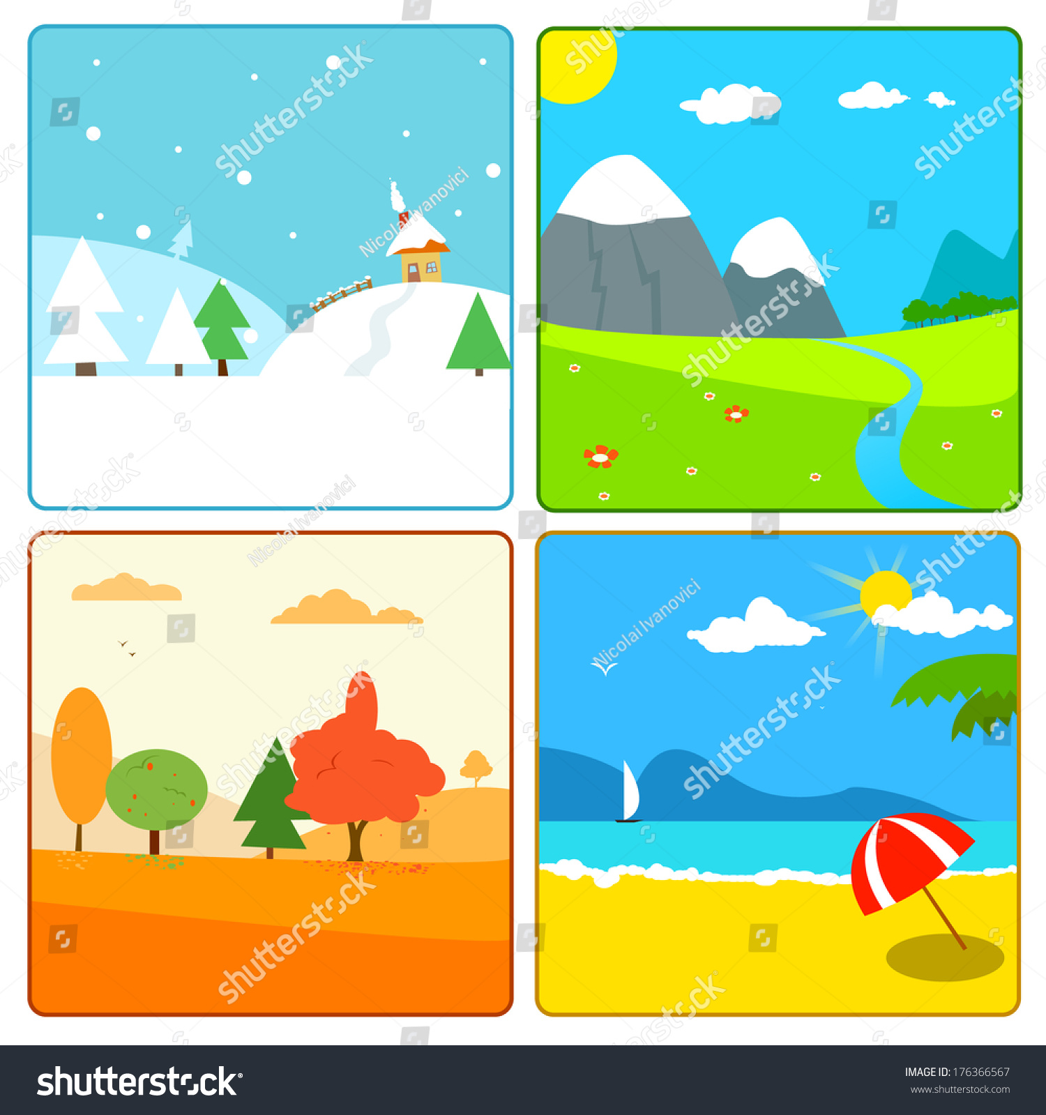 Illustration of 4 season