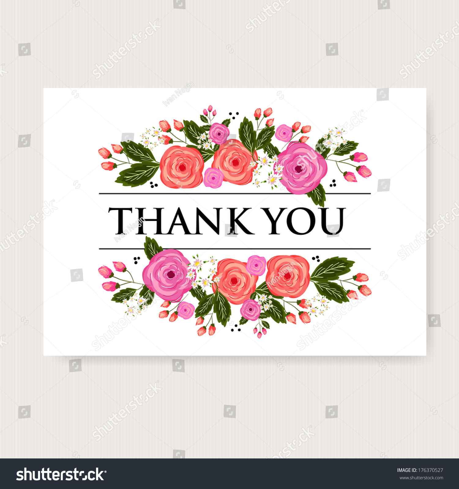 Beautiful Flower Thank You: Floral Thank You Card Beautiful Realistic Stock Vector