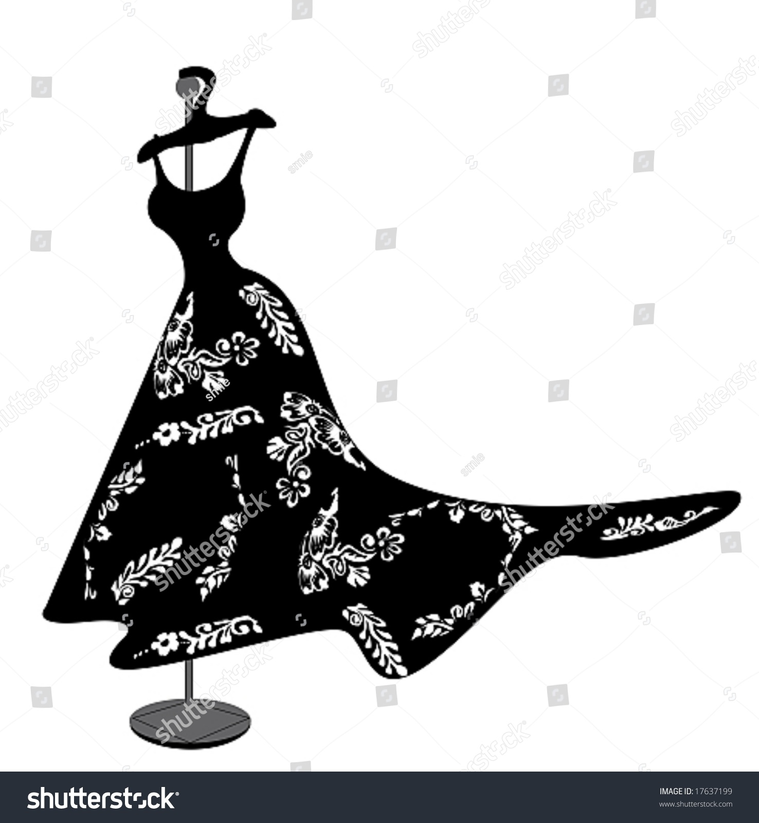 Beautiful Black Dress White Flower Figure Stock Vector Royalty Free
