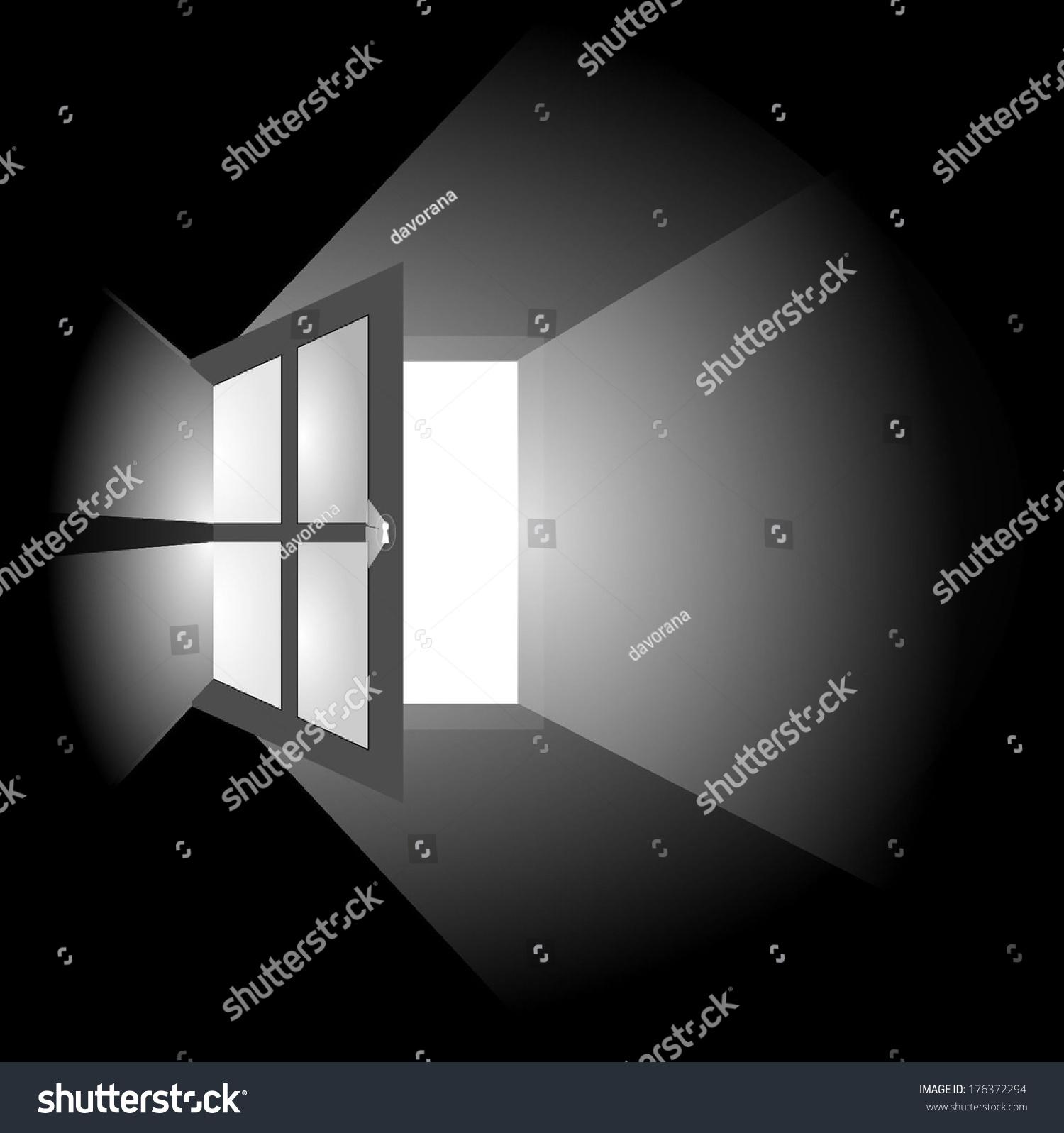 Dark room with light through window - Open Window In A Dark Room Through Which The Rays Of Light Isolated On Black