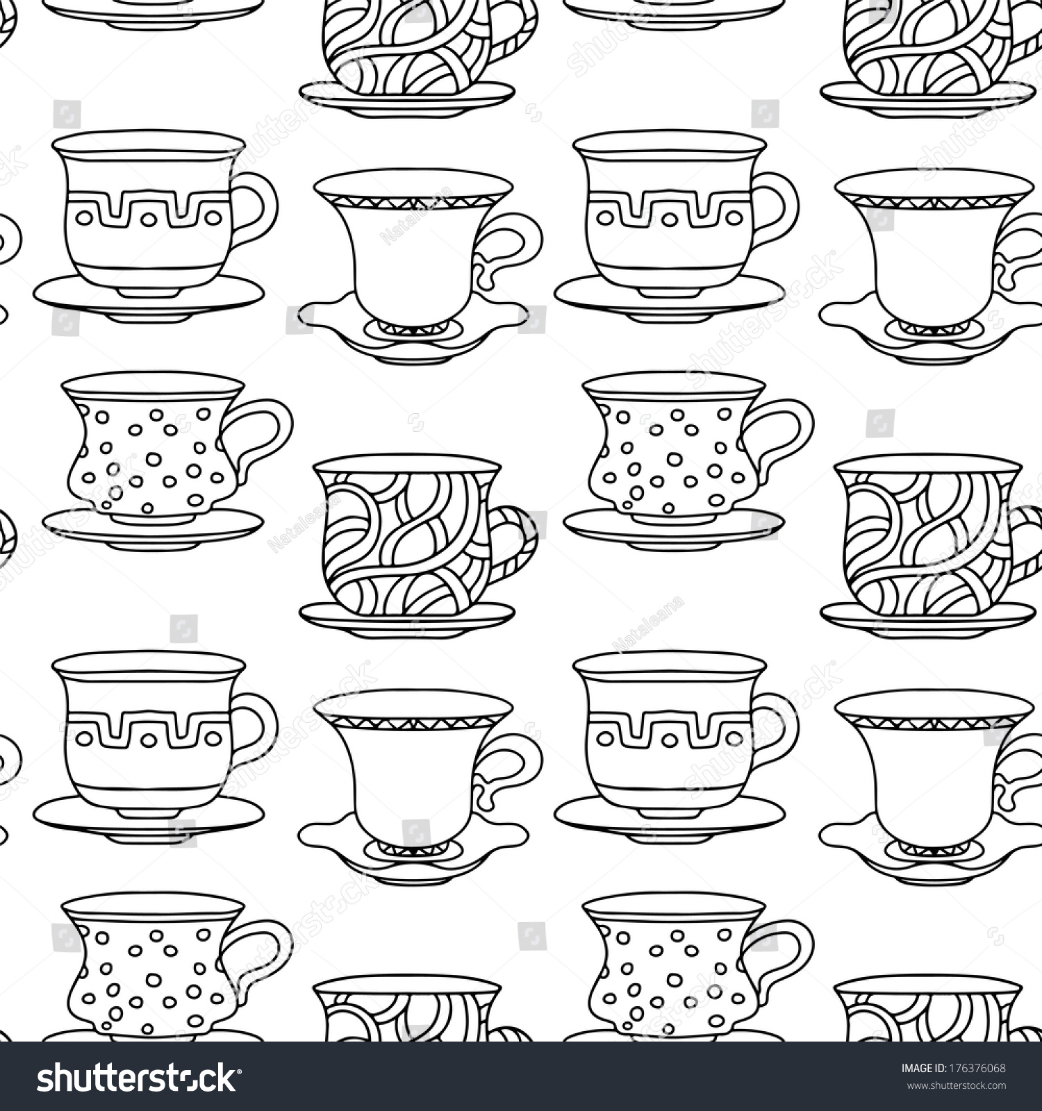 Seamless Pattern Tea Cups Coffee Cups Stock Vector 2018