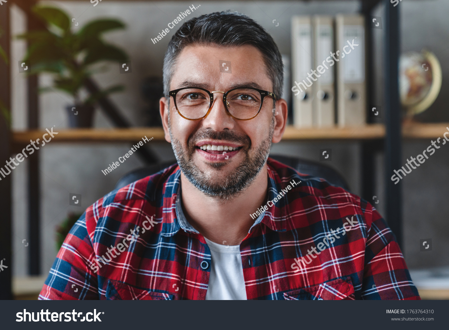 Smiling business man looking camera webcam making conference video call #1763764310