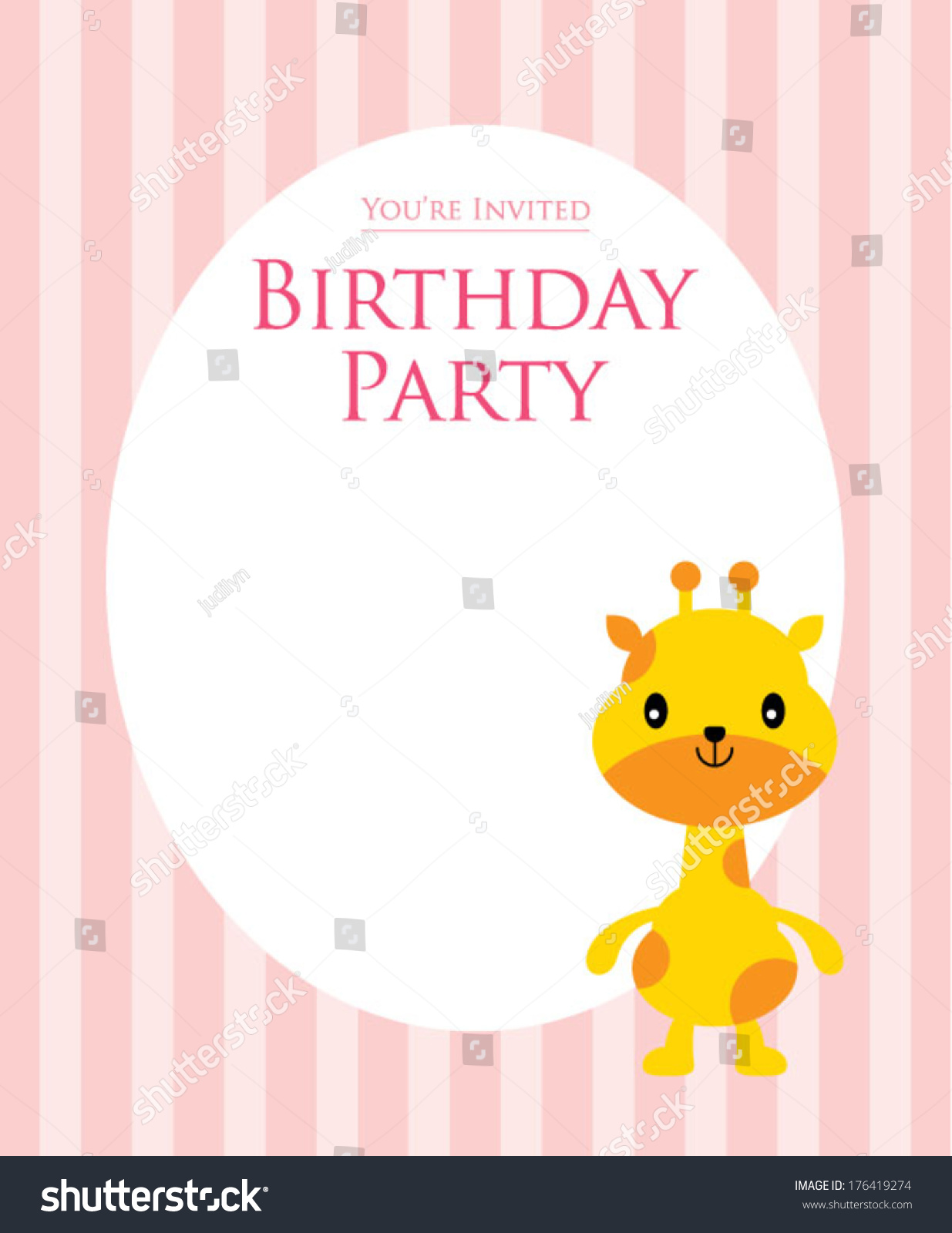 Giraffe Birthday Invitation Card Stock Vector 176419274 - Shutterstock