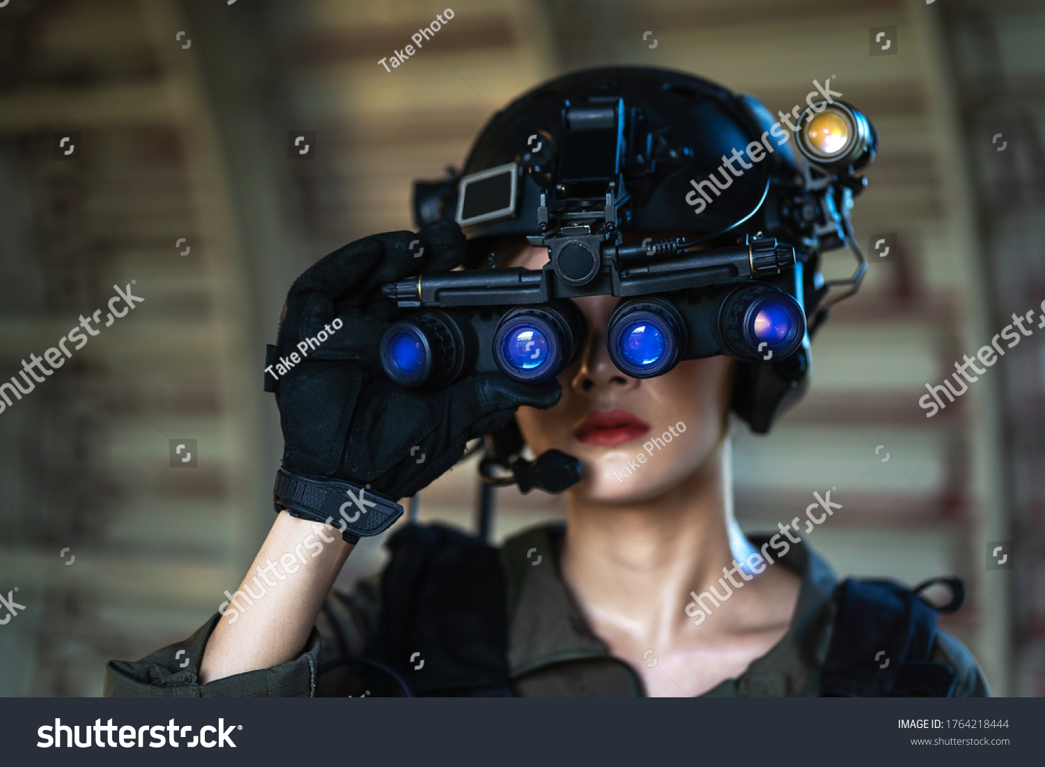 Portrait of female modern army special forces soldier, anti terrorist squad fighter, elite commando warrior using four-eyed night vision goggles in dark background #1764218444