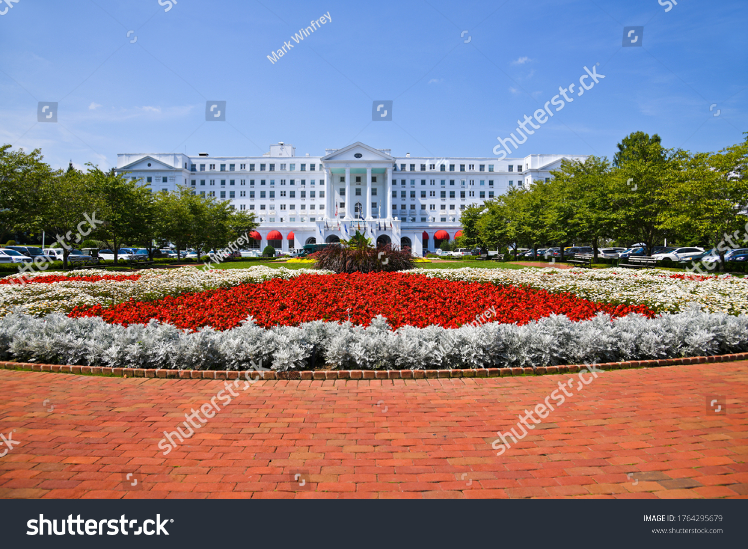 White Sulphur Springs, West Virginia / USA - August 8, 2018: The Greenbrier is a luxury resort located in the Allegheny Mountains near White Sulphur Springs in Greenbrier County, West Virginia.