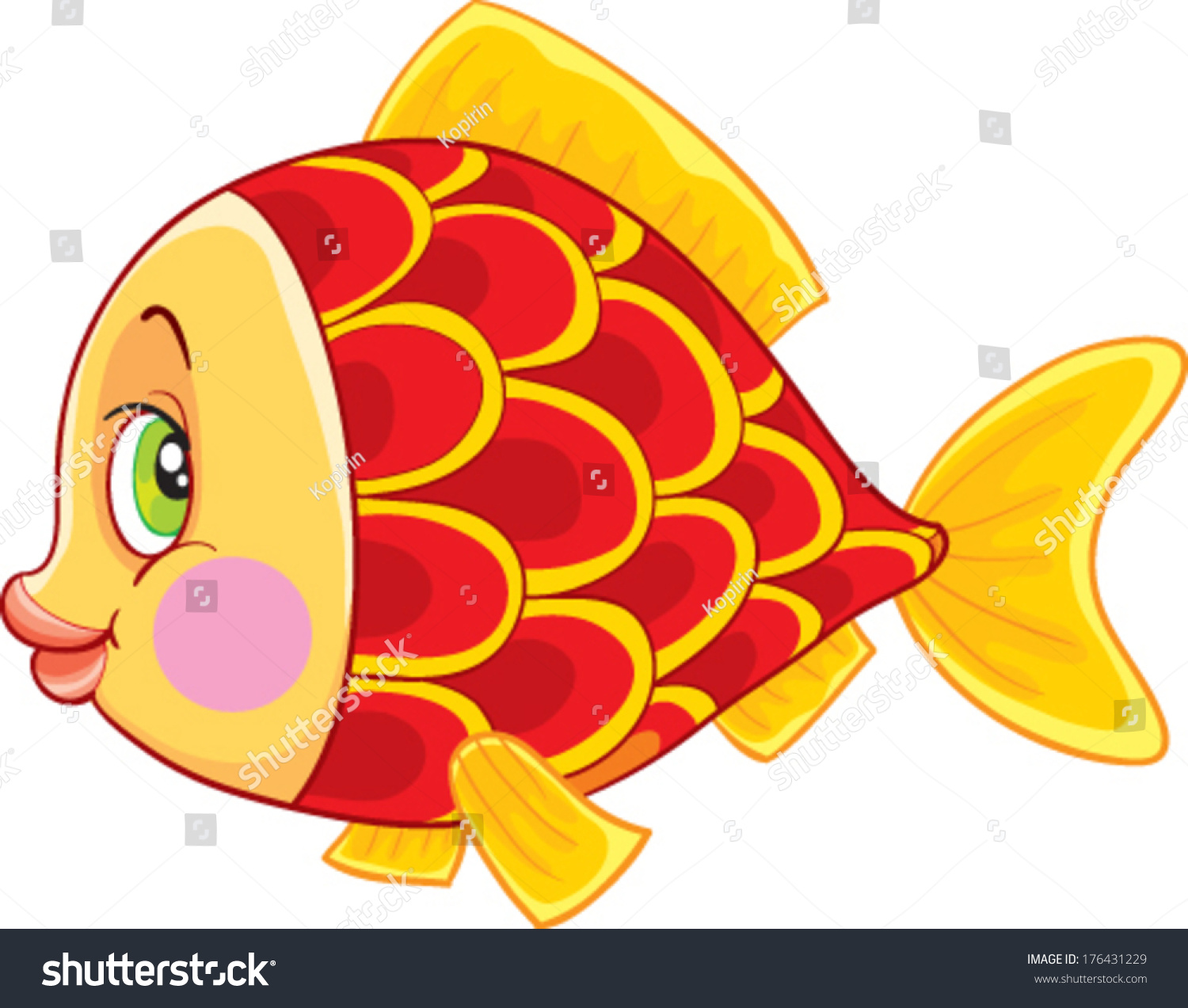 Vector Red Fish Stock Vector 176431229 - Shutterstock