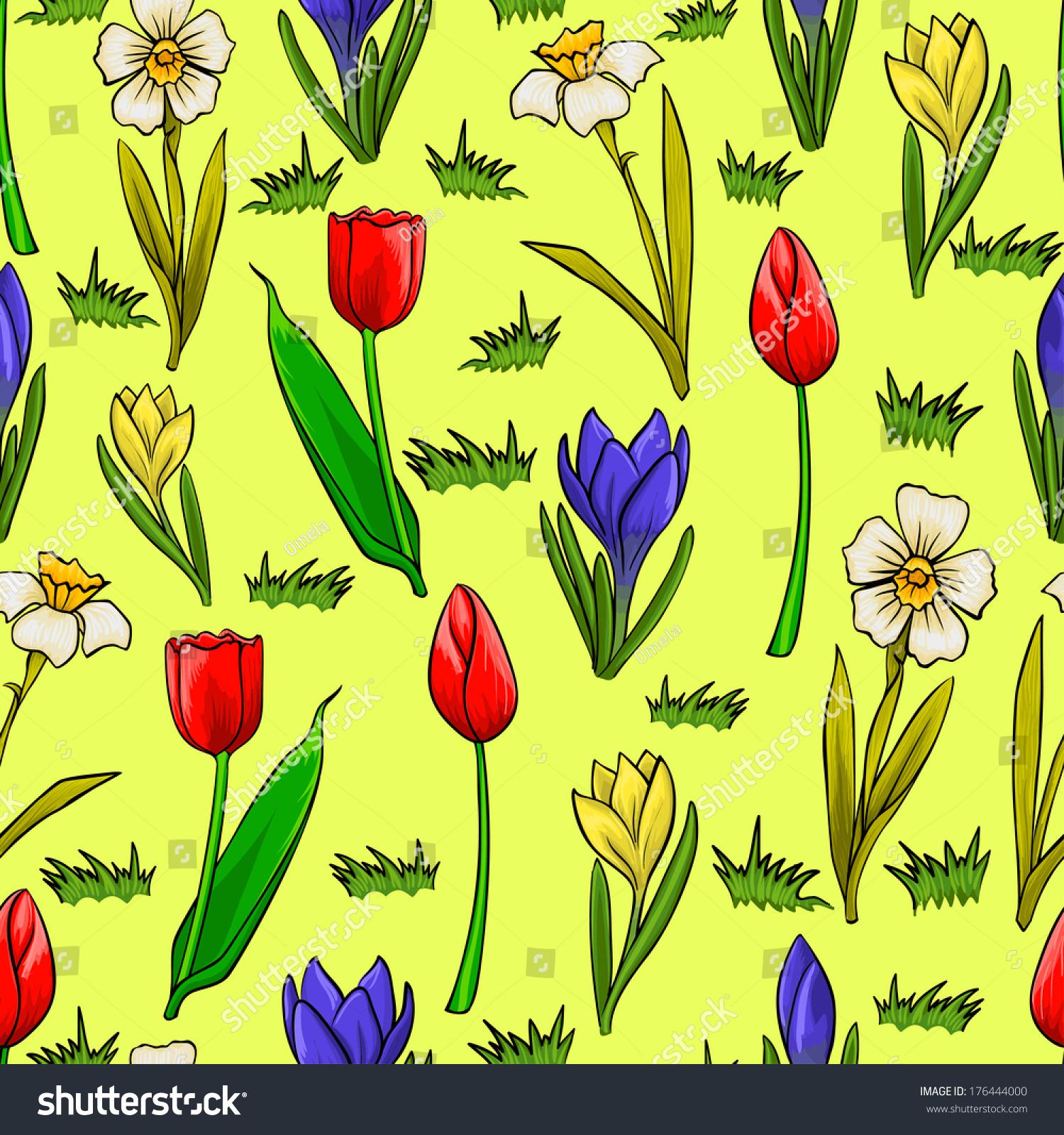 Vector Cartoon Seamless Pattern Spring Flowers Stock Vector Royalty