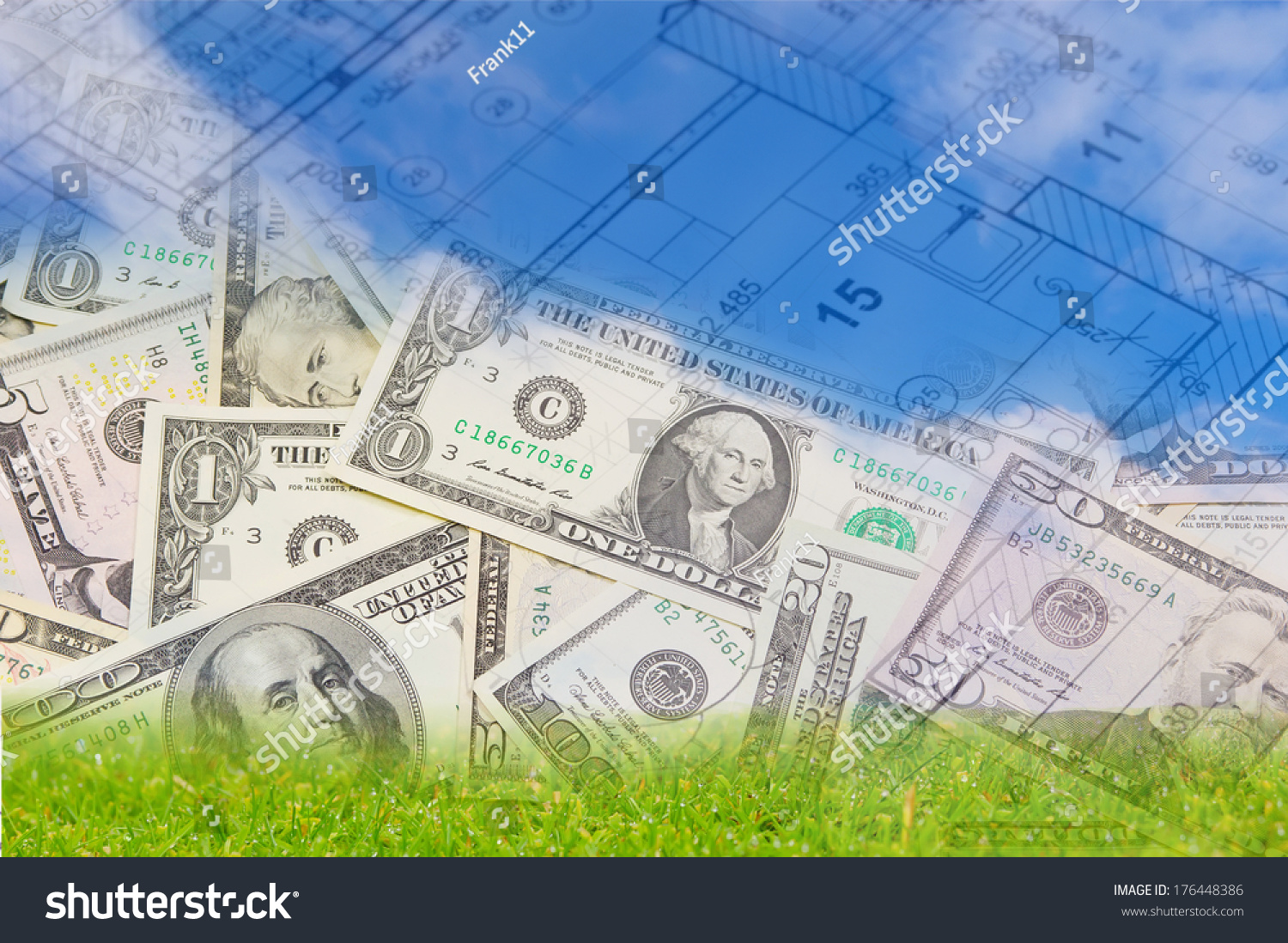 Background blue sky green land blueprint stock photo 176448386 background with blue sky green land blueprint of a house interior and us dollars malvernweather Images