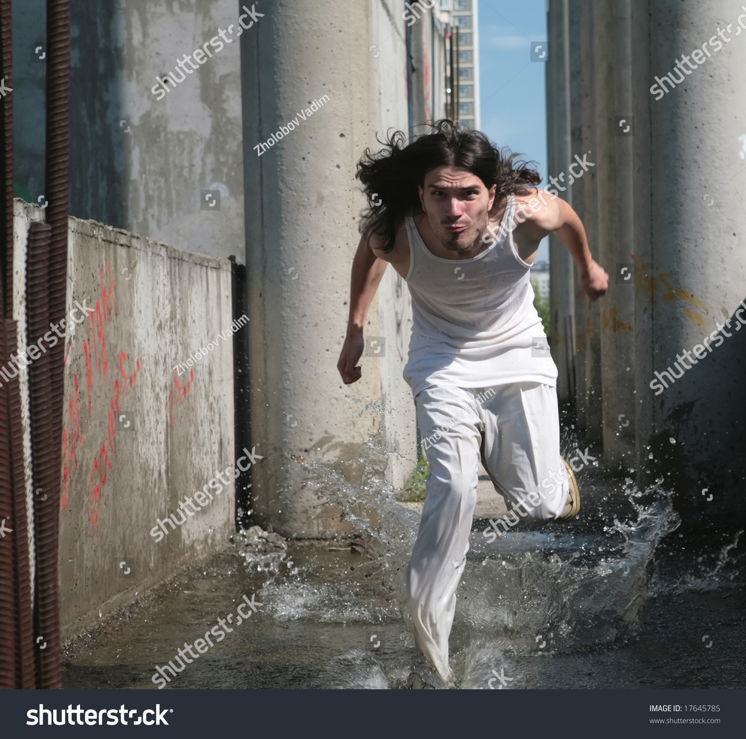 Incredible Running On Water Man White Cloth Stock Photo 17645785 Shutterstock Hairstyles For Women Draintrainus