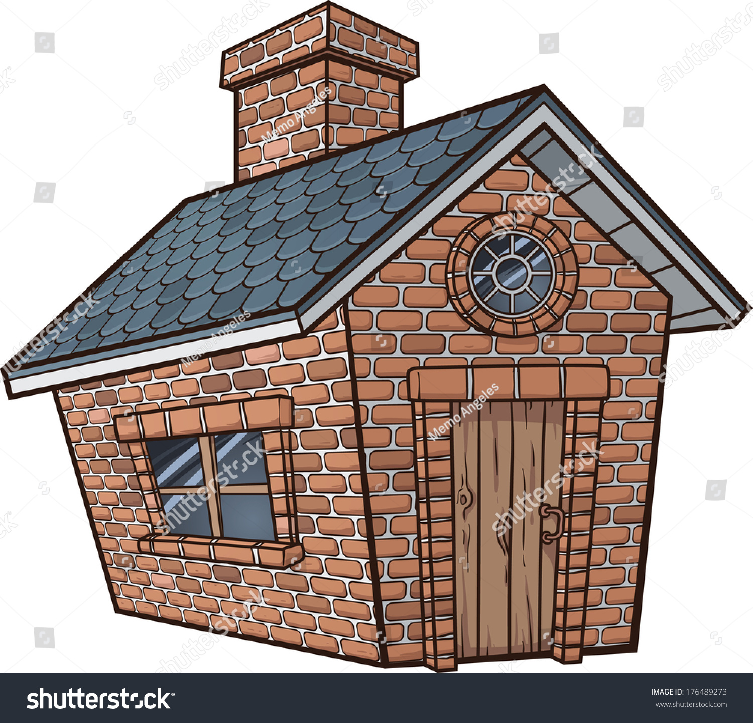 Little Brick House Vector Clip Art Illustration With Simple Gradients All In A Single