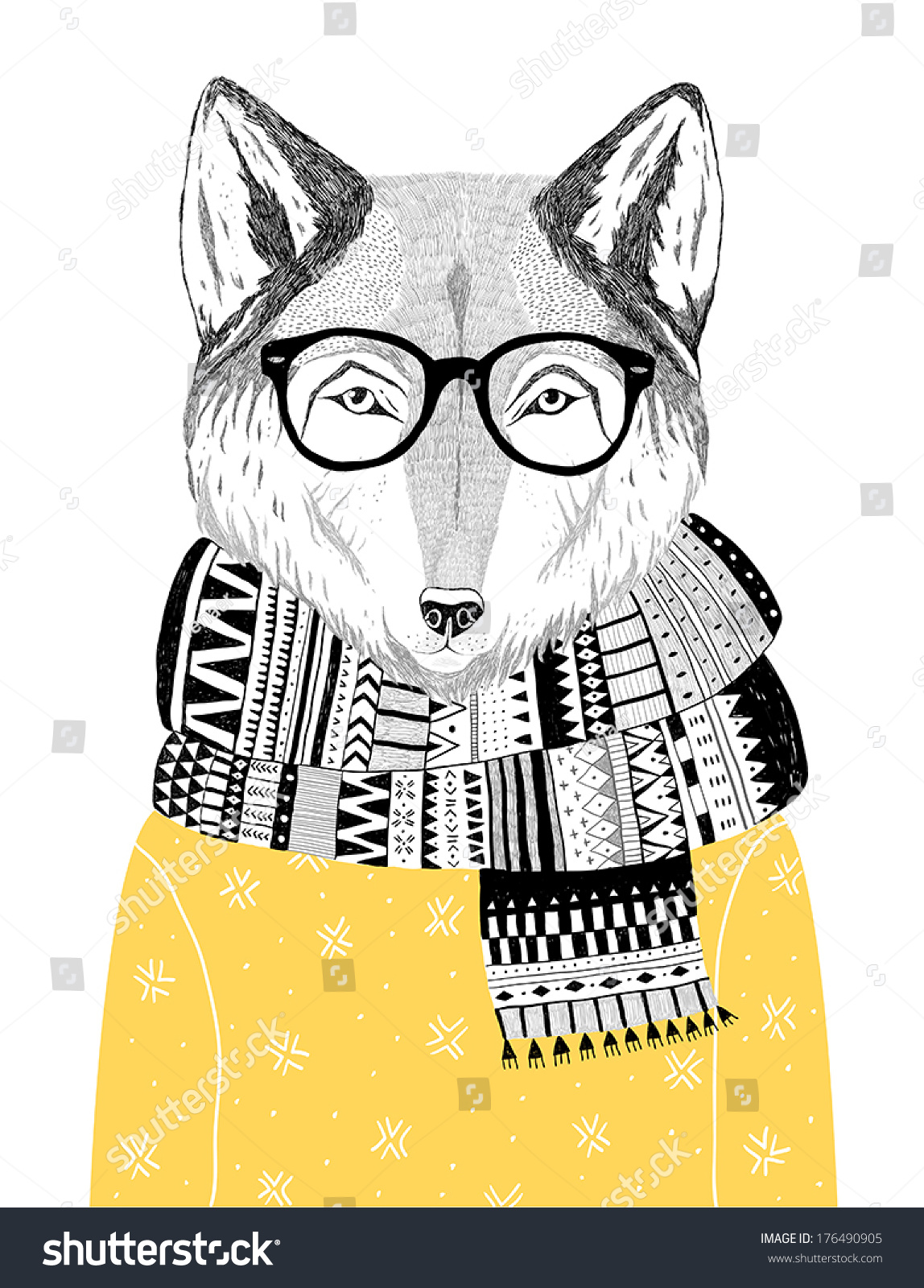 Hand Drawn Wolf Portrait Hipster Glasses Stock Vector ...
