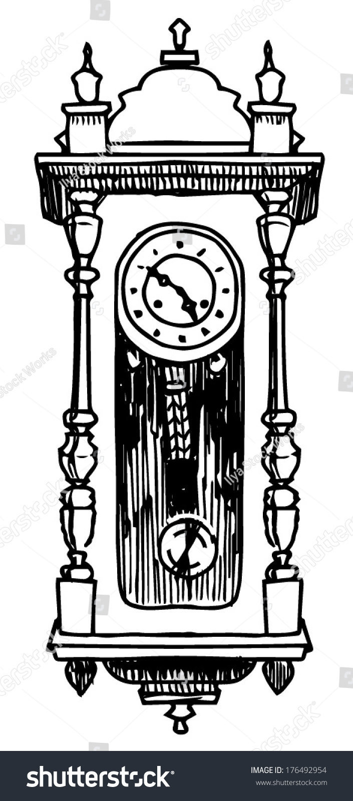 Retro Wall Clock Drawing On Whine Background Stock Vector ...