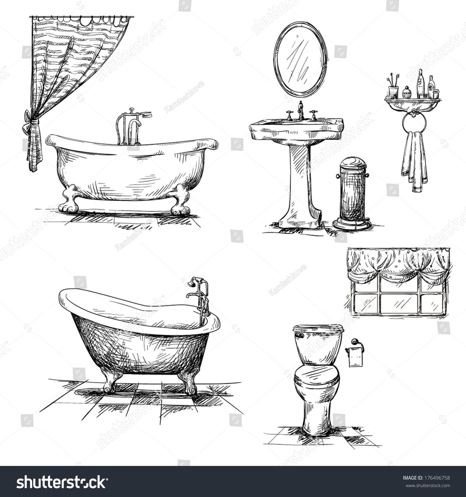 Bathroom Interior Elements. Hand Drawn. Bathtub, Toilet