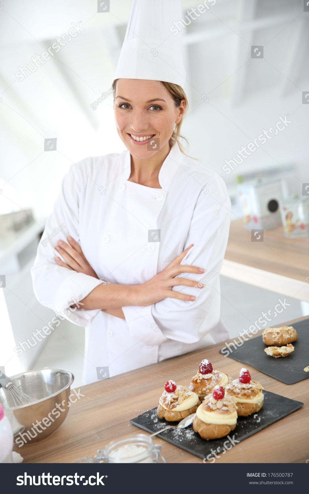 Successful Woman Confectioner Professional Kitchen Stock Photo ...