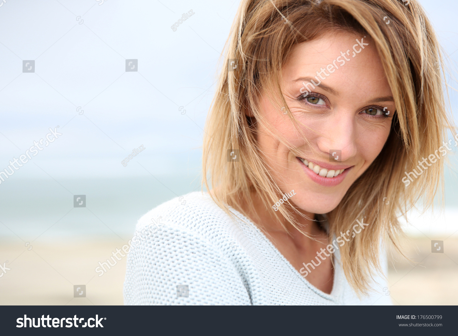 Portrait Of Beautiful 40 Year Old Blond Stock Photo