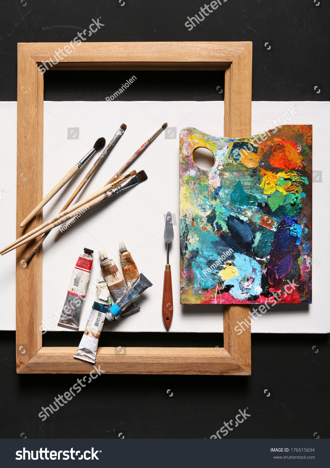 Painting set brushes paints frame blank stock photo for Canvas painting classes