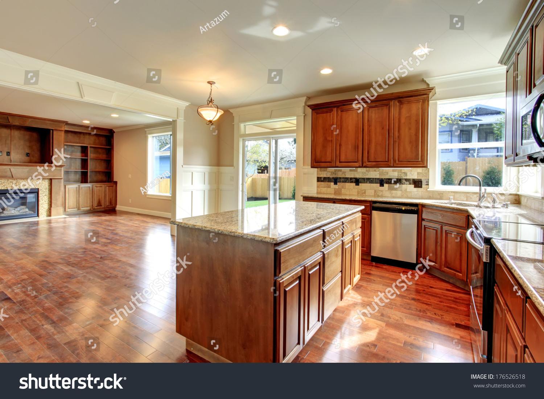 Beautiful Kitchen Wood Storage Combination Tile Stock Photo Edit Now 176526518