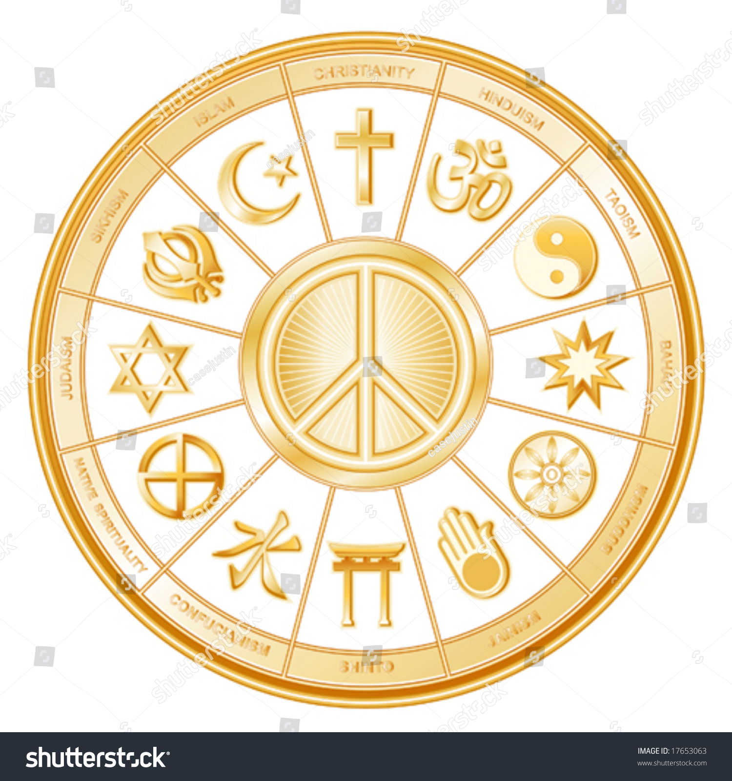 Peace Symbol International World Religions Faiths Stock Vector ...