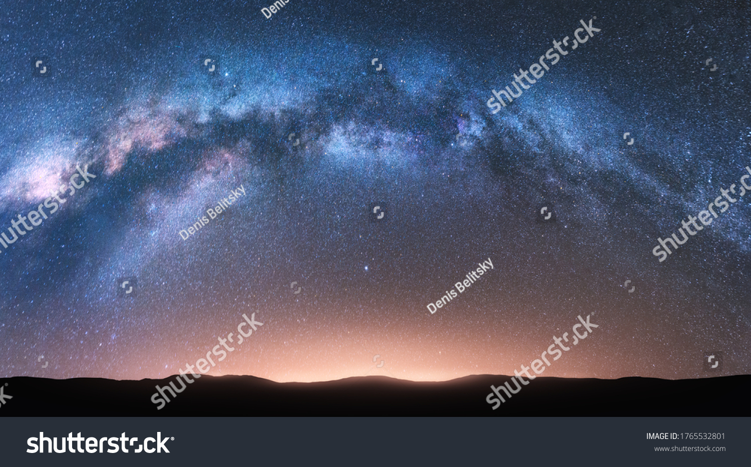 Milky Way arch. Fantastic night landscape with bright arched milky way, sky with stars, yellow sunlight and hills. Beautiful scene with universe. Space background with starry sky. Galaxy and nature #1765532801