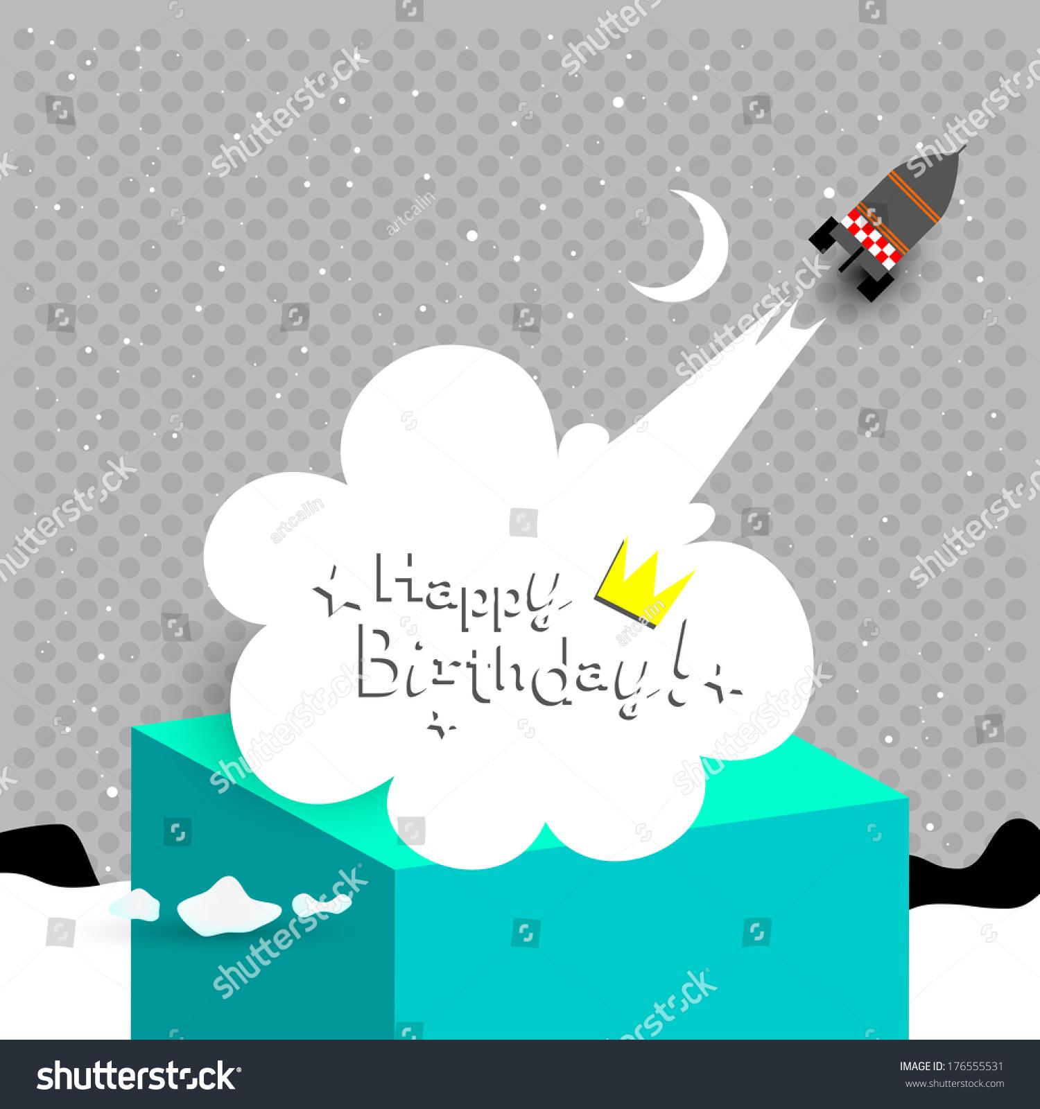 Happy Birthday Card Children Anniversary Vector Illustration With Rocket