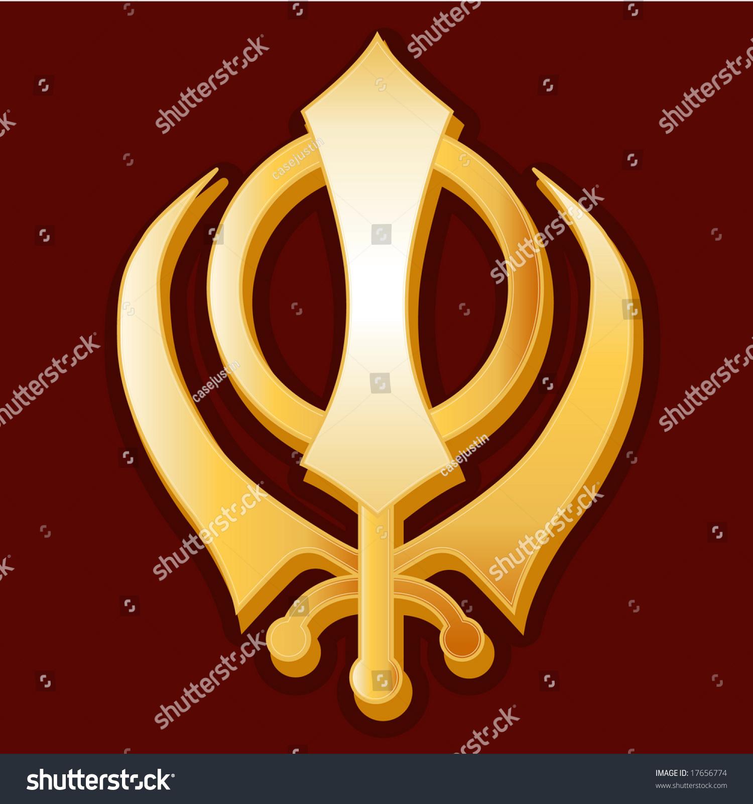 Sikh Symbol Golden Khanda Icon Sikh Stock Illustration 17656774
