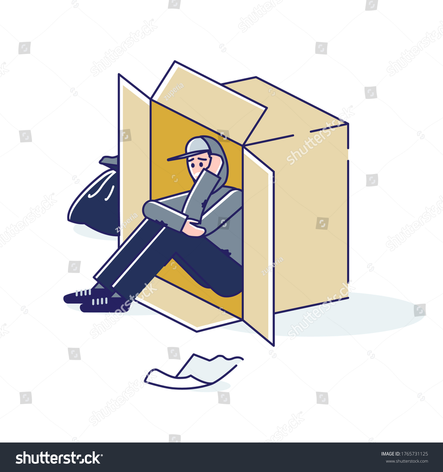 Young Homeless Man Living On Street Stock Vector Royalty Free ...