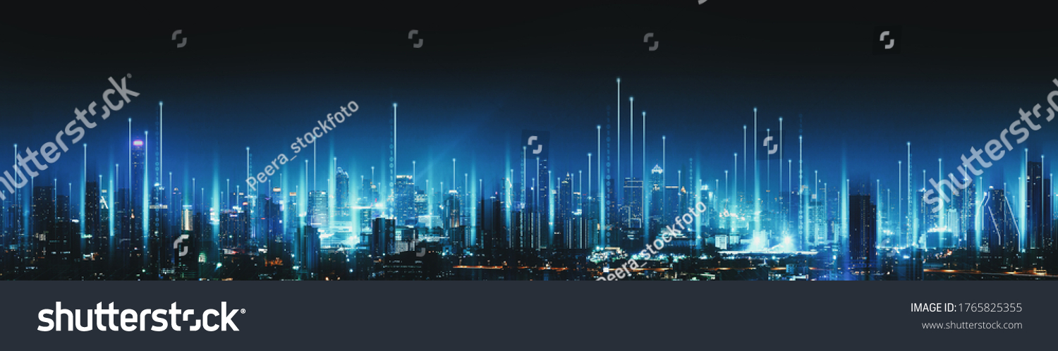 Smart network and Connection technology concept with Bangkok city background at night in Thailand, Panorama view #1765825355