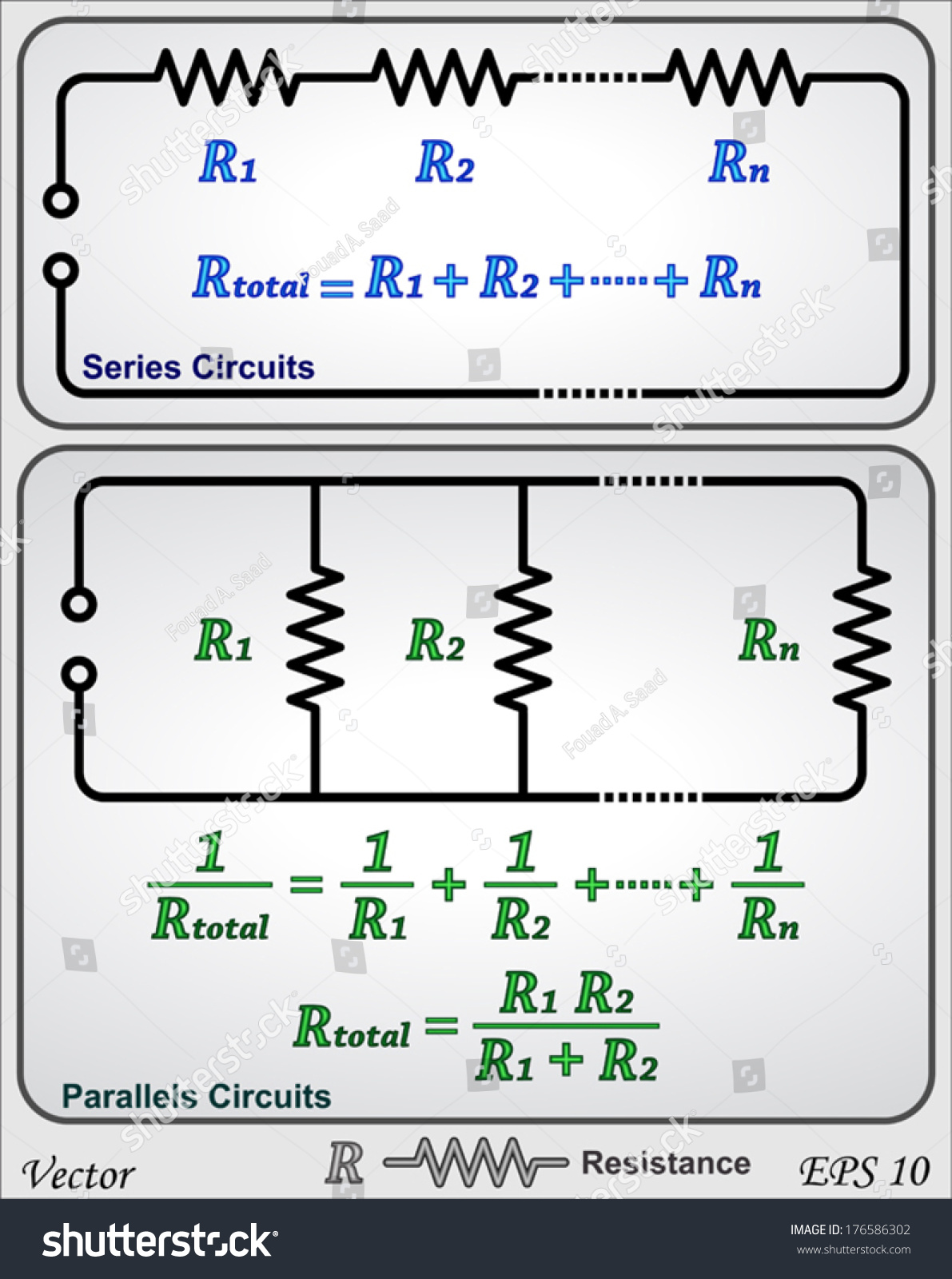 Series Parallel Circuits Resistor Stock Vector Royalty Free Resistances In Electrical And