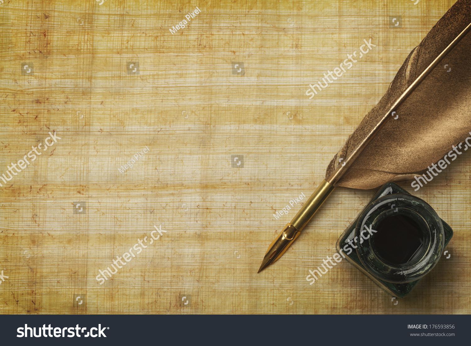 Old Papyrus Paper And Feather Quill With Glass Ink Bottle ...