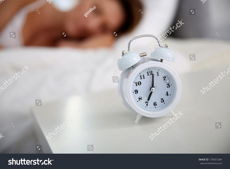 Closeup Alarm Clock Set On Bedroom Stock Photo 176601284   Shutterstock