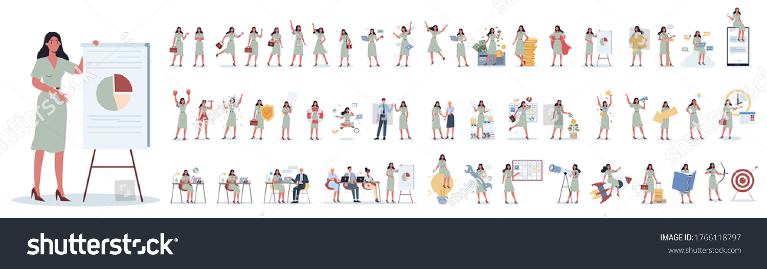 Set of business woman or office worker character with various poses, face emotions and gestures. Talking on the phone, sitting and making presentation. Isolated flat vector illustration #1766118797
