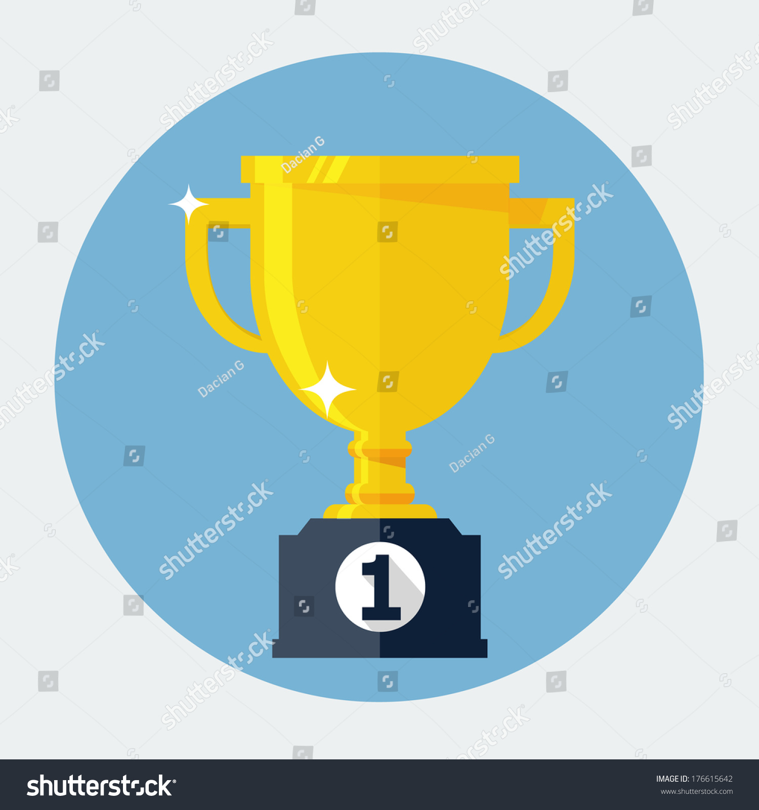 Trophy Cup Flat Icon Stock Vector Illustration 176615642 ...