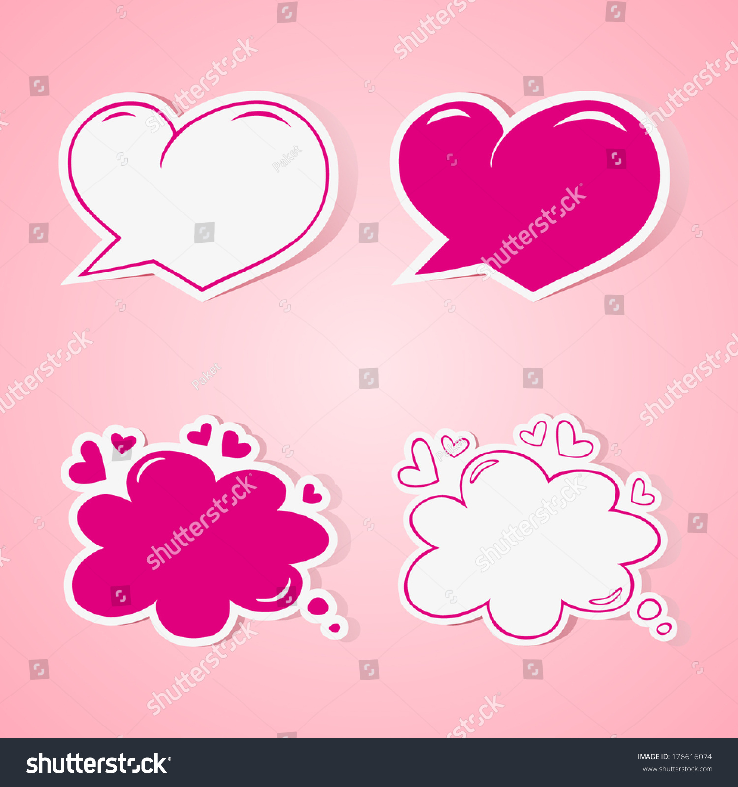 Heart Shaped Speech Bubbles Set   Elements For Wedding Or Baby Shower  Invitation, Scrapbooking Etc