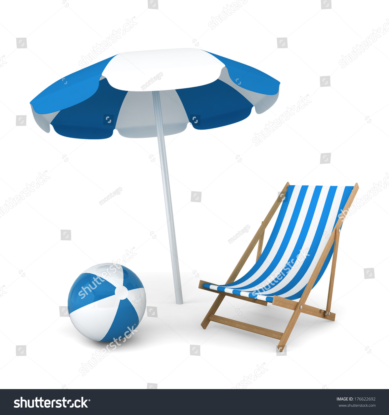 Beach umbrella and chair black and white - Beach Umbrella Chair And Ball Summer Vacation Concept 3d Illustration On White Background