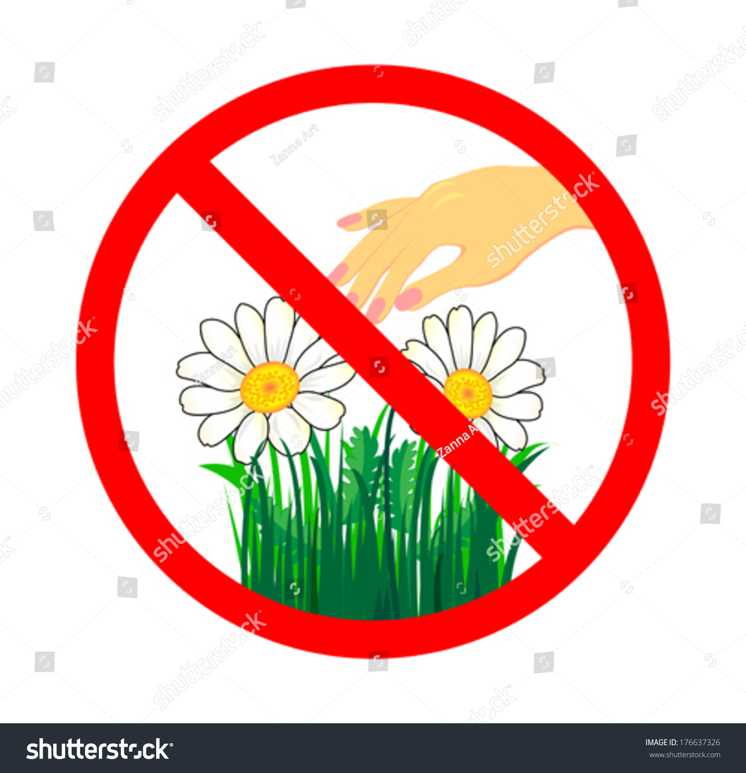 do not pick flower signred cycle stock vector 176637326