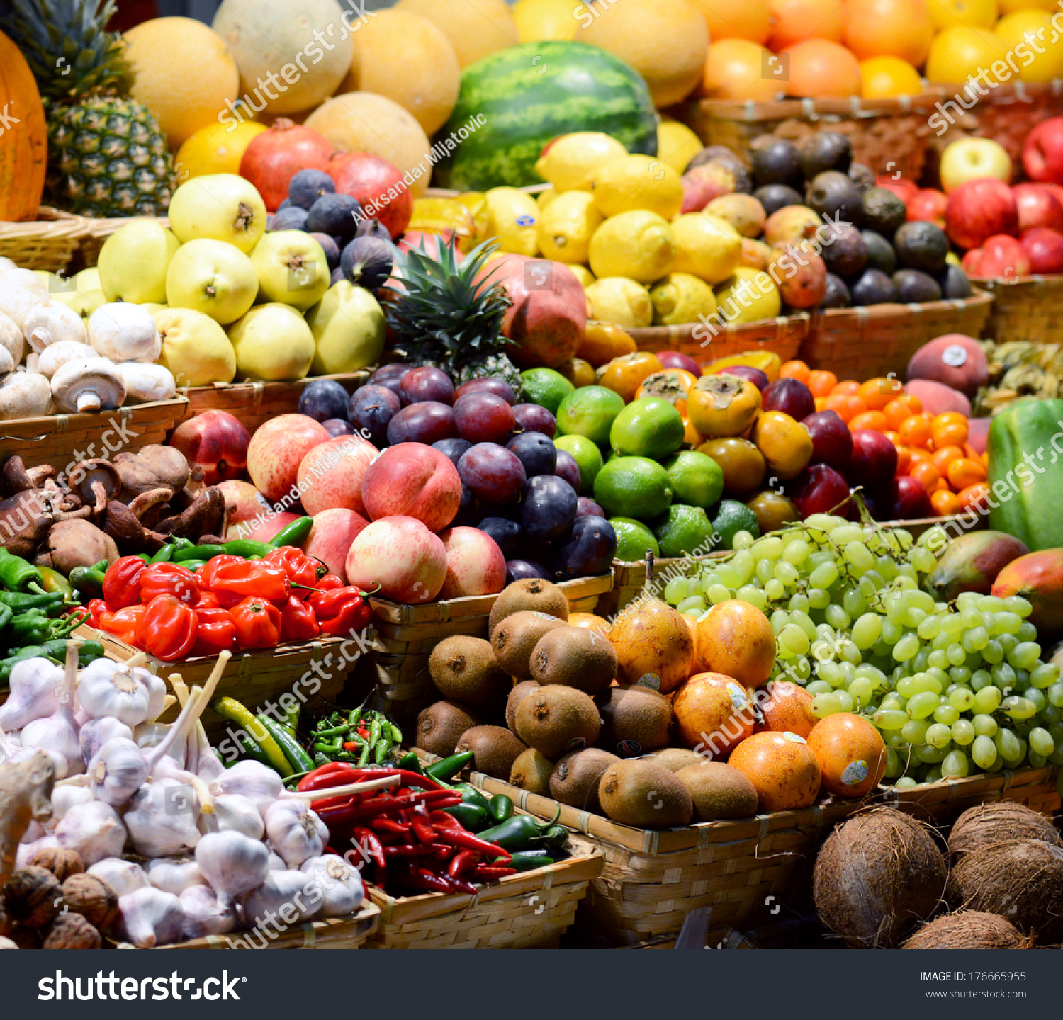 Fruit market with various colorful fresh fruits and vegetables - Market series #176665955