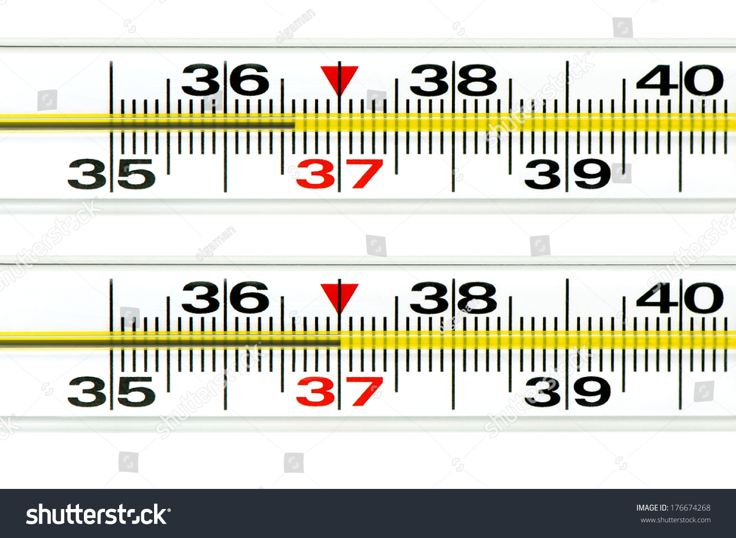 medical mercury thermometer showing healthy human body