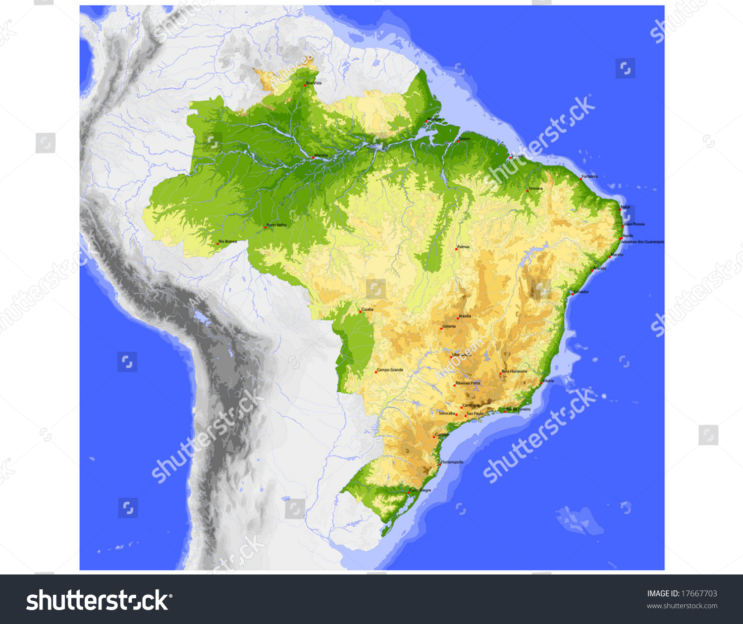 Brazil Physical Vector Map Colored According Stock Vector 17667703