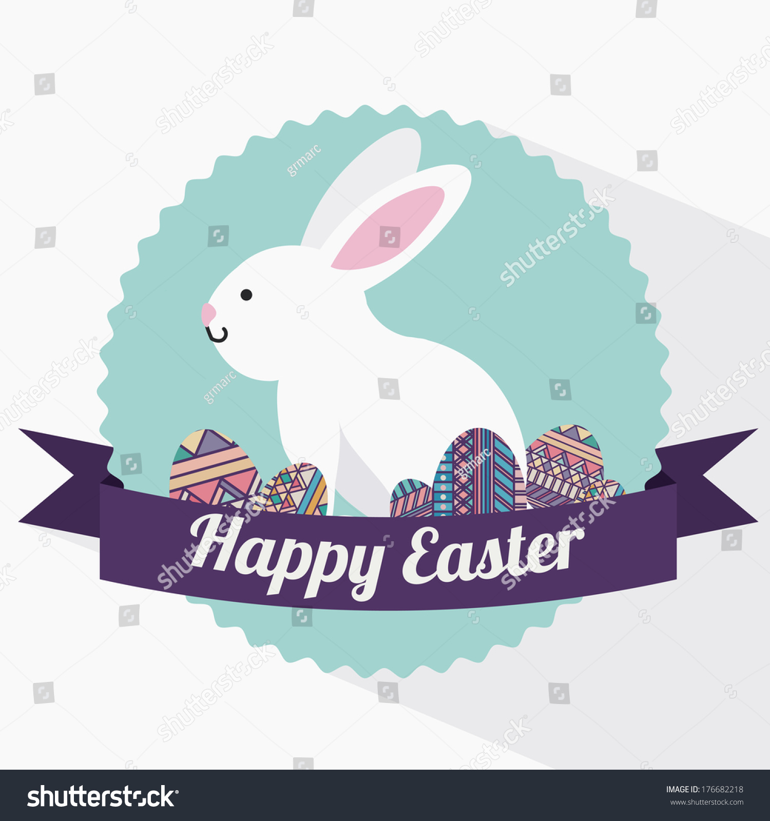 Happy Easter Over White Background Vector Stock Vector ...