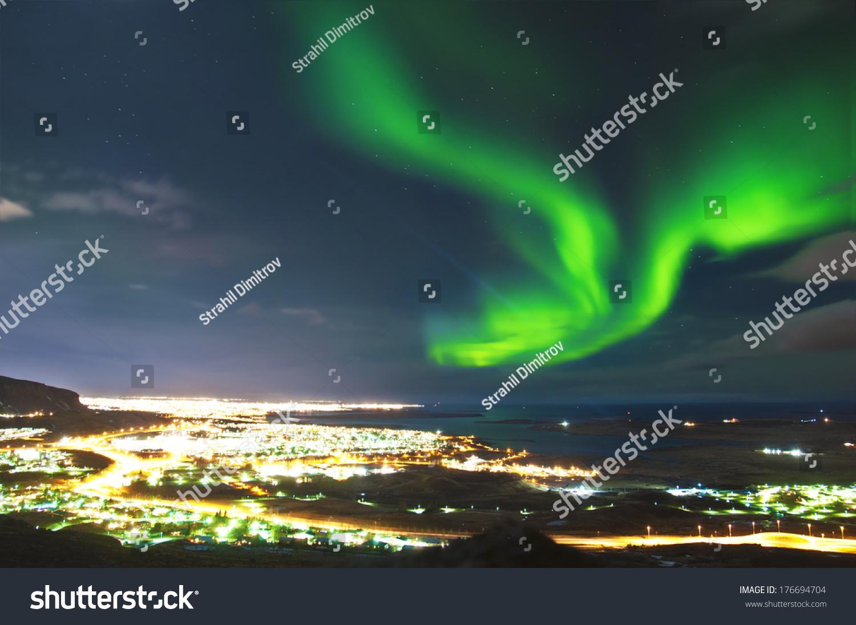 Northern Lights Above Reykjavik Iceland Stock Photo