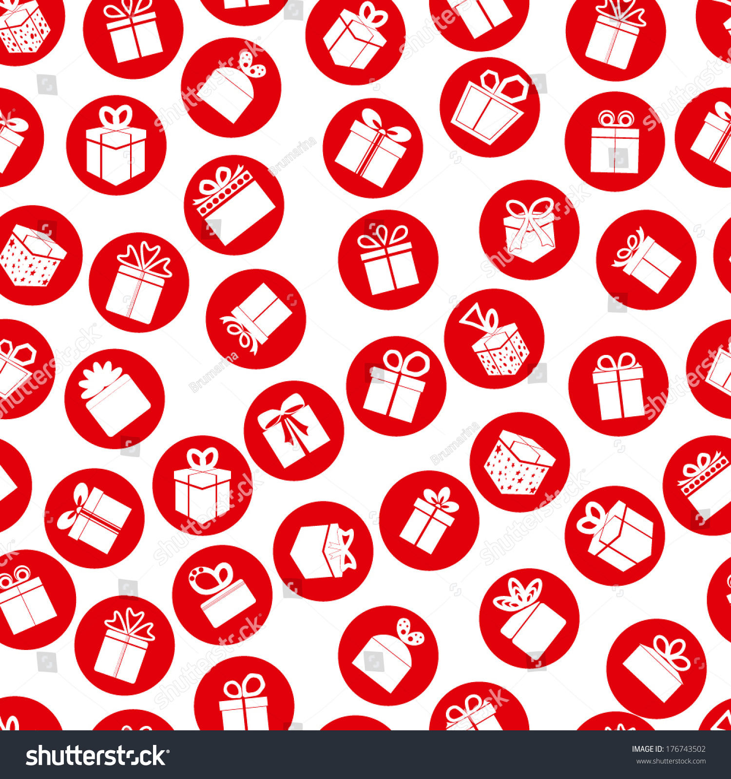Red Seamless Present Pattern Vector Background Stock Vector