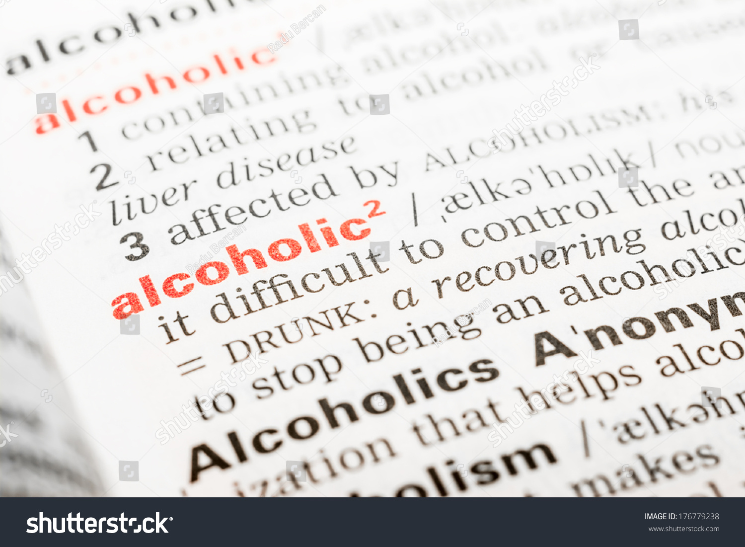 alcoholic word definition dictionary stock photo (edit now