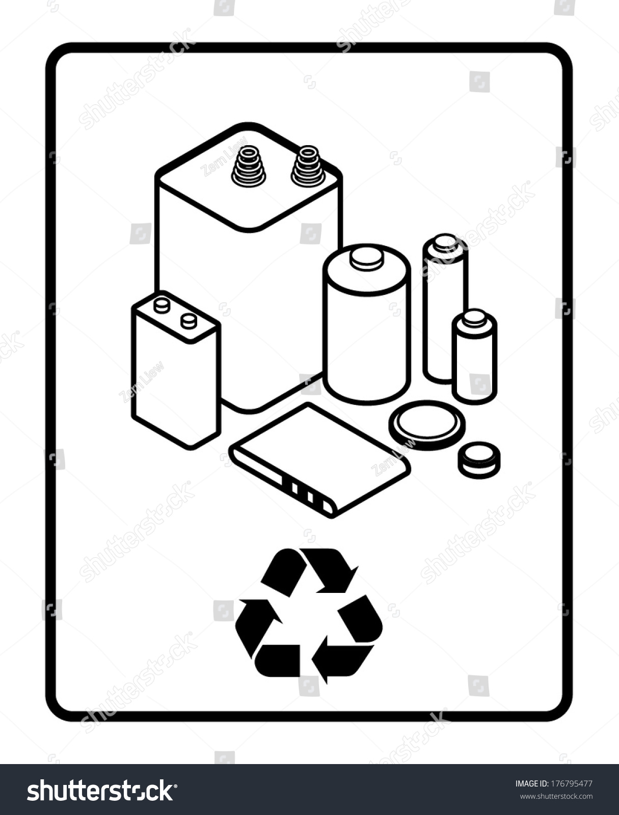 Recycling Sign Arrangement Dry Cell Alkaline Stock Vector Royalty Diagram With An Of And Lithium Batteries