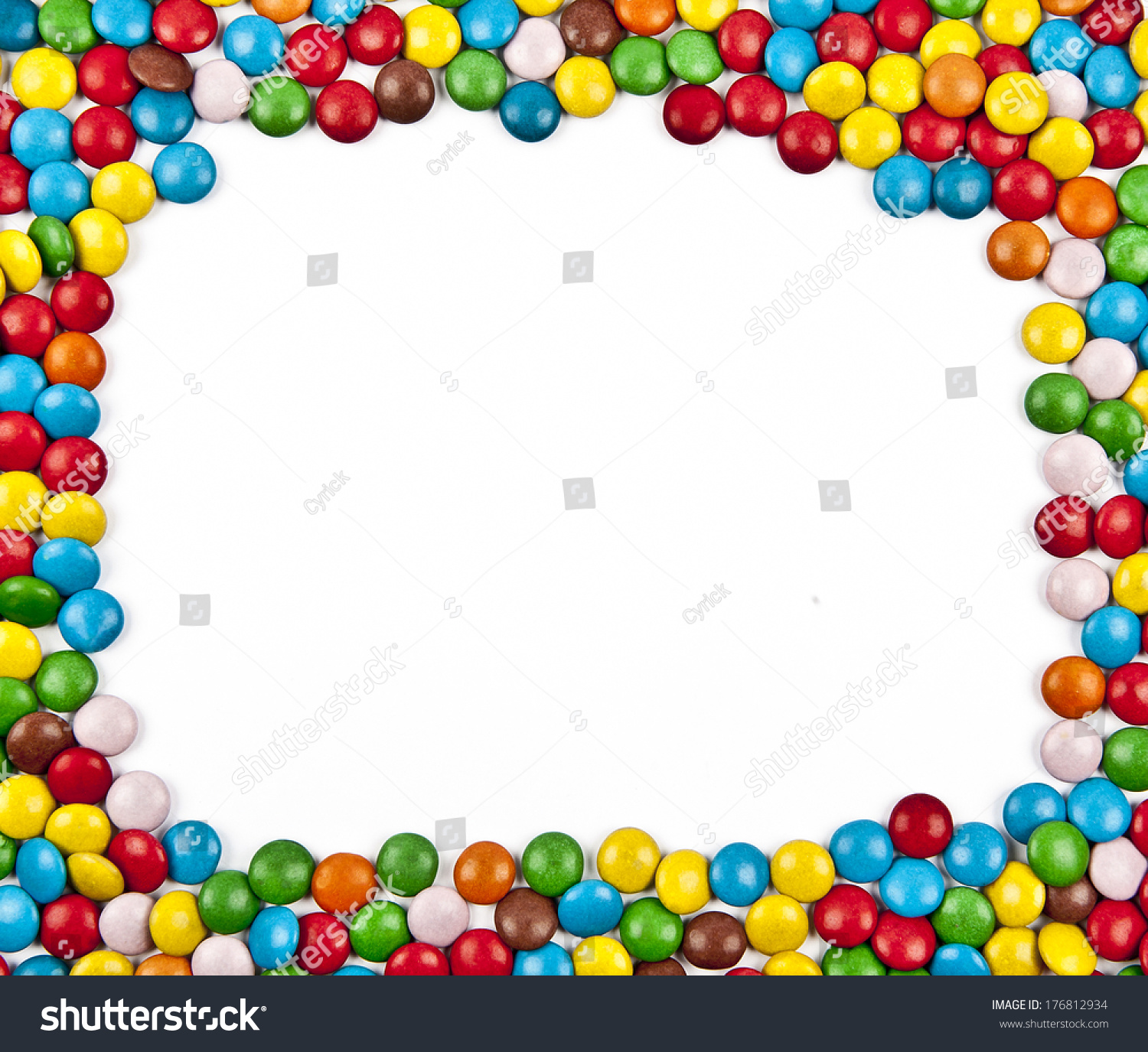 Chocolate coated candy chocolate pattern chocolate background - Frame Colorful Candy On White Background Stock Photo
