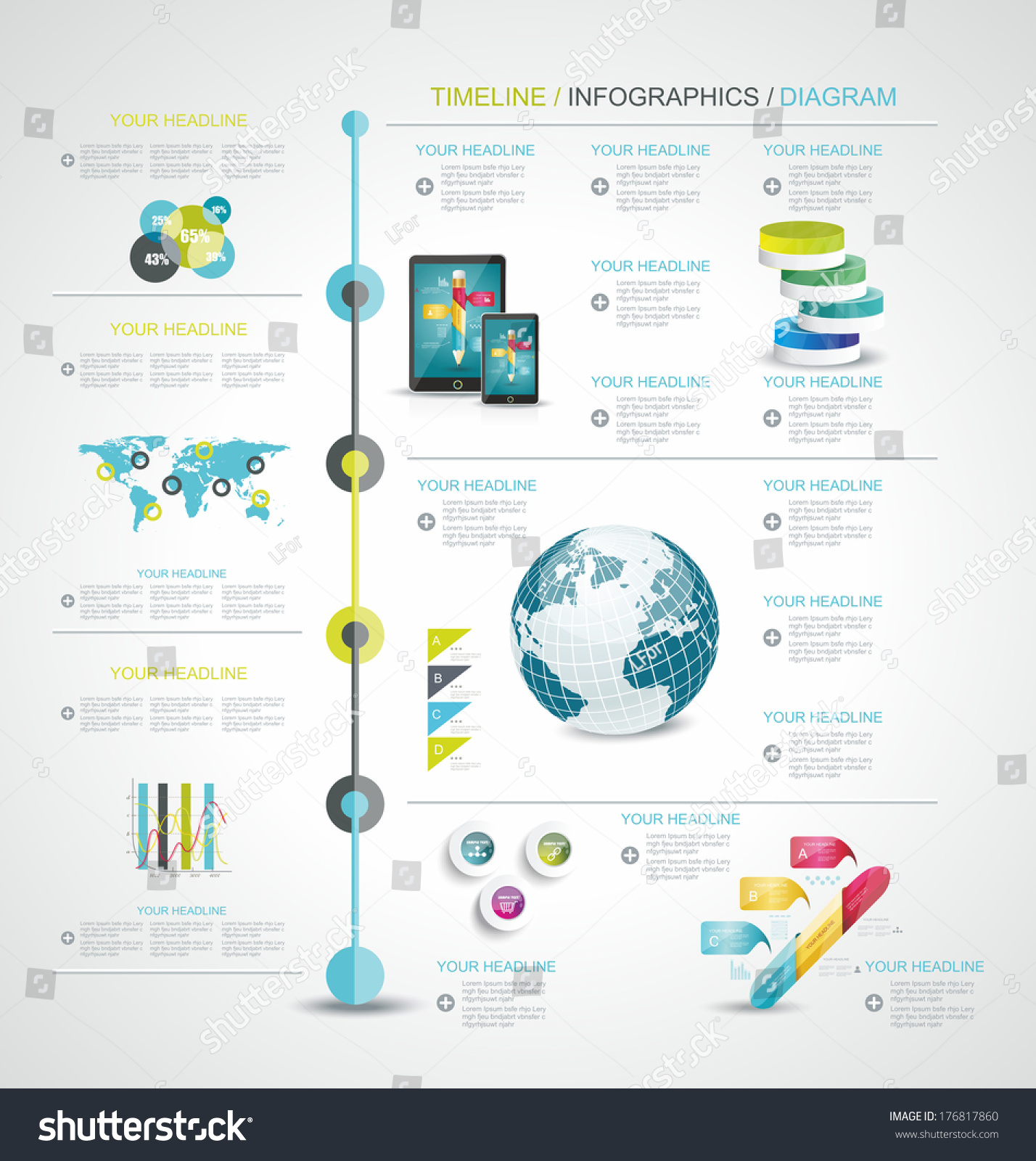 Map Design Website Template: Timeline Design Template World Map Web Stock Vector