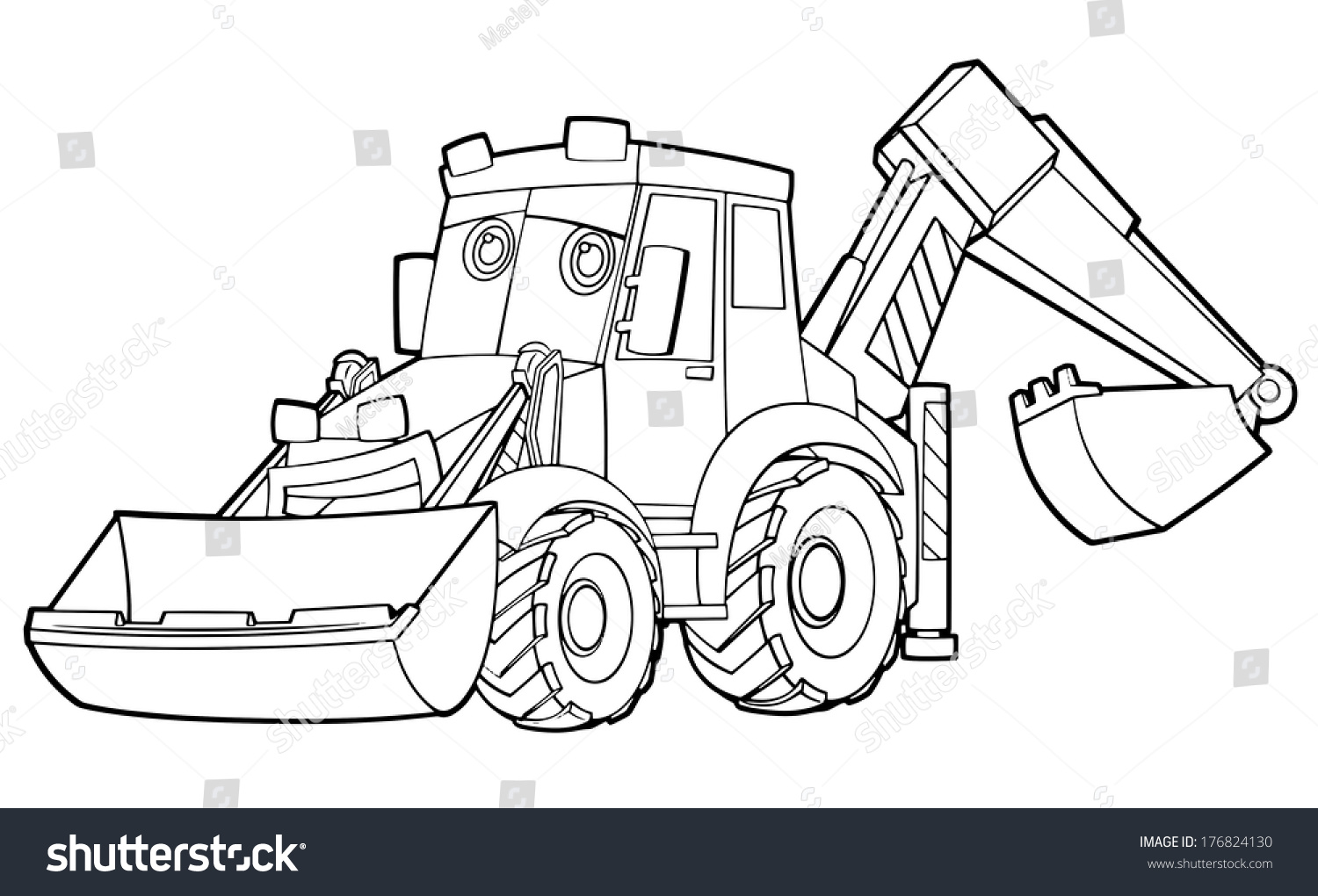 Coloring Page Excavator Illustration For The Children